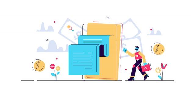 デジタル法案のイラスト。小さな電話財布人の概念。現代の電子金融決済方法。抽象銀行取引サービス。安全なオンラインショッピングモバイルデバイステクノロジー
