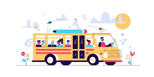 スクールバスのイラスト。小さな瞳孔輸送人コンセプト。学校、大学、小学校に行く途中の古典的なフル学生バン。子供の街路ドライブのための公共の定期道路サービス