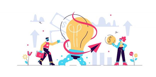 ビジネスアイデアの図。小さな創造的な仕事の人の概念。象徴的なブレーンストーミングと成功企業戦略。チームワークの資金協力と管理。インスピレーションを与えるスタートアップ。