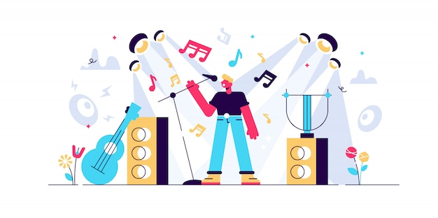 歌のイラスト。小さな音楽演奏者のコンセプト。バンドボーカルエンターテインメントショーを含む抽象的なサウンドコンサートフェスティバル。スタジオロック、ポップな作曲でステージのカラオケメロディー。