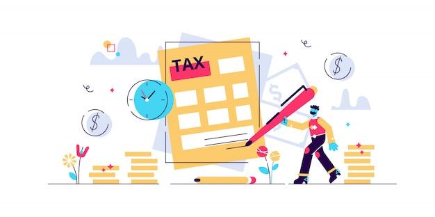 税金のイラスト。支払い時間の遅延を持つ小さな人の概念。政府のニーズを支払うための金融サービス。締め切り情報請求書と罰金。全国年間計算チェック。