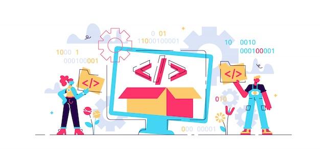 オープンソースのイラスト。小さなプログラミング言語の人の概念。コード情報を持つ開発者プロトコルプラットフォームインターフェイス。デジタルソフトウェアスクリプト、テキスト、標識、コンピューターデータ。