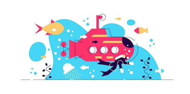 海洋学のイラスト。小さな水の生命研究人のコンセプト。水中の野生生物についての科学。魚と動物の生き物のための海と海の研究。潜水艦とスキューバの生物学的作業