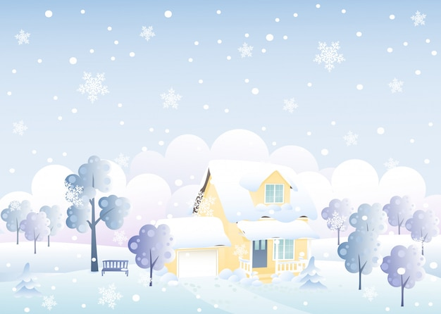 Хороший зимний дом иллюстрации