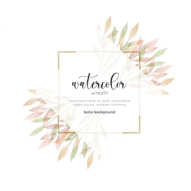 水彩のボヘミアンスタイルの花カード