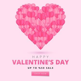 С днем святого валентина карты в стиле арт бумаги. праздник баннер с бумажными сердечками. праздничная иллюстрация.