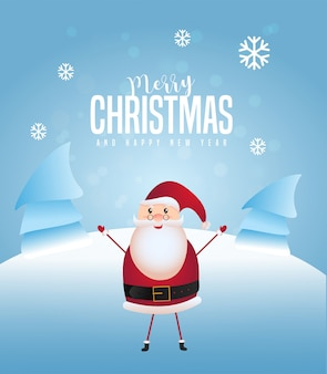 Веселого рождества и счастливого нового года дизайн открытки с санта-клаусом, поднимая руки и снежный покров дерева