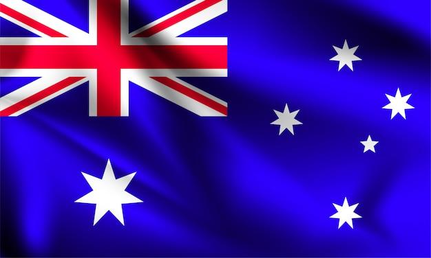オーストラリアの旗が風に吹かれて。シリーズの一部。オーストラリアの旗を振っています。