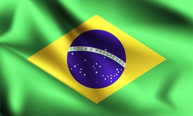 Флаг бразилии, дует ветер. часть серии. бразилия развевается флагом.