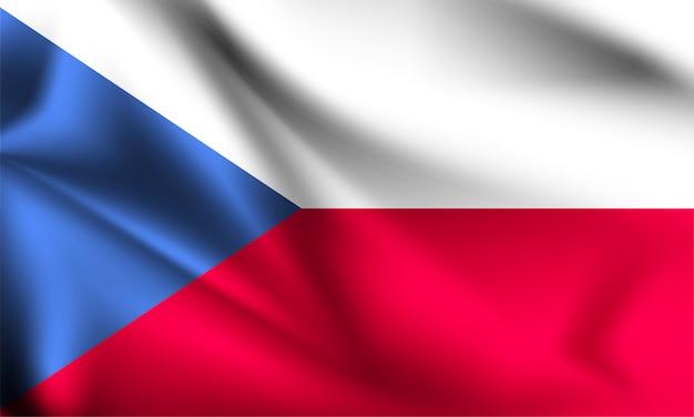Флаг чехии, дует ветер. часть серии. чехия машет флагом.
