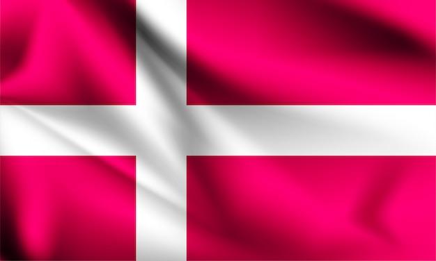 デンマークの旗が風に吹かれて。シリーズの一部。デンマークの旗を振っています。