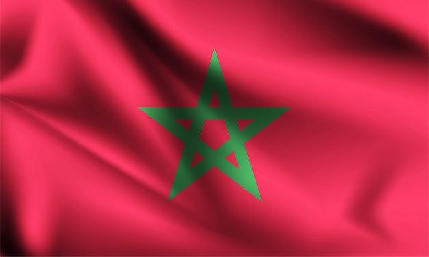 モロッコの旗が風に吹かれて。シリーズの一部。モロッコの旗を振っています。