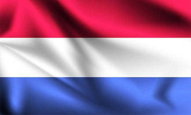 オランダの旗が風に吹かれて。シリーズの一部。オランダの旗を振っています。