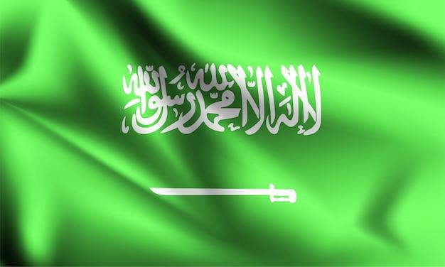 Флаг саудовской аравии, дует ветер. часть серии. саудовская аравия машет флагом.