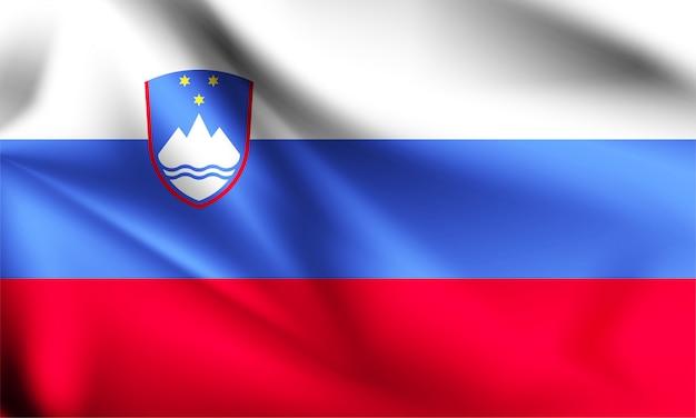 スロベニアの旗が風に吹かれて。シリーズの一部。スロベニアの旗を振っています。