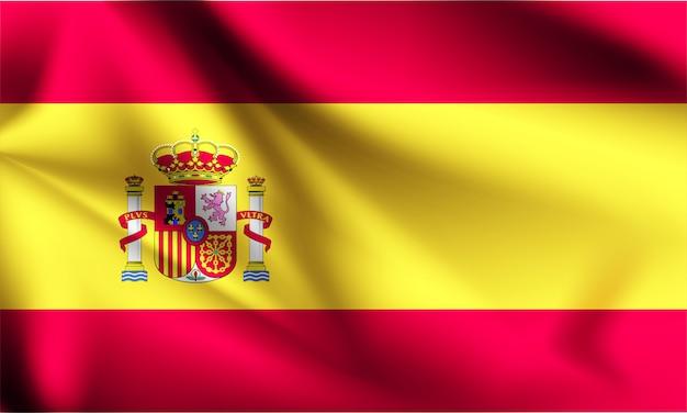 スペインの旗が風に吹かれて。シリーズの一部。スペインの旗を振っています。