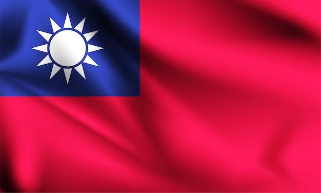 風になびく台湾旗。シリーズの一部。台湾の旗を振っています。