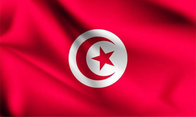 風に吹かれてチュニジアの旗。シリーズの一部。チュニジアの旗を振っています。