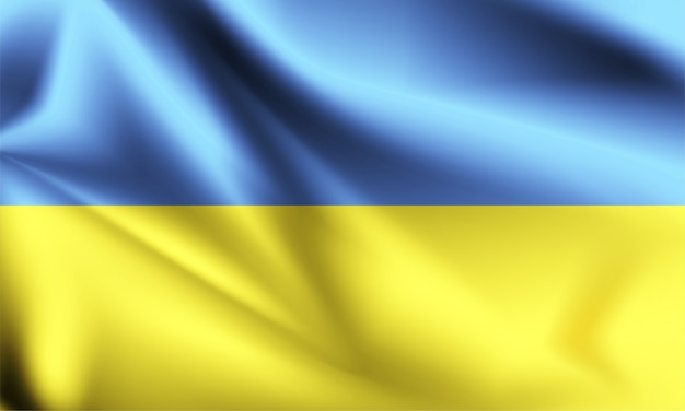 ウクライナの旗が風に吹かれて。シリーズの一部。ウクライナの旗を振っています。