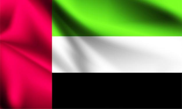 アラブ首長国連邦の旗が風に吹かれて。シリーズの一部。アラブ首長国連邦の旗を振っています。