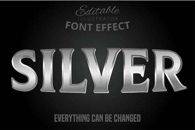 Серебристый металлический эффект текста, блестящий серебряный алфавит