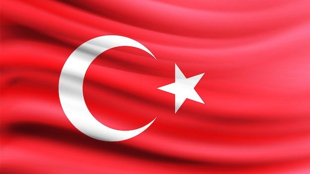 風に吹かれてトルコ国旗。