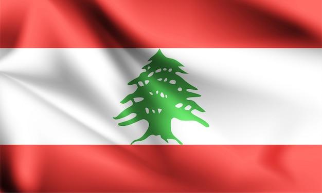 風が吹いてレバノンの旗。