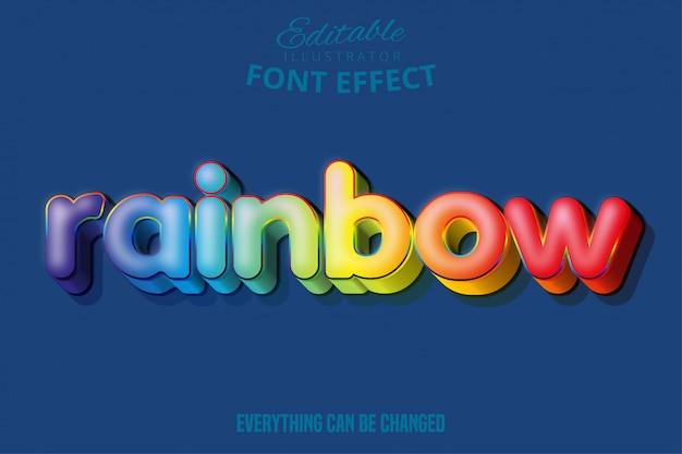Текстовый эффект радуги, редактируемый текст