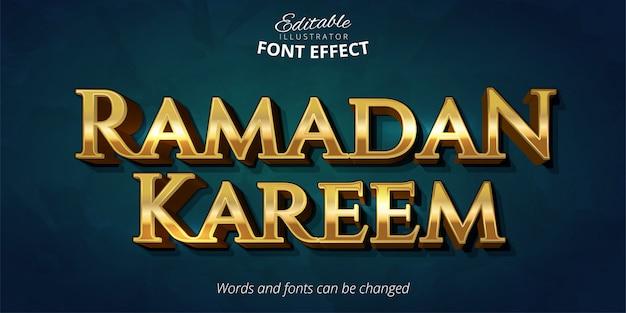 Рамадан карим текстовый эффект, блестящий стиль золотого алфавита