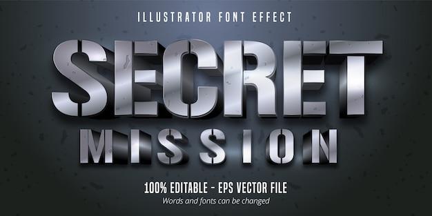 シークレットミッションのテキスト、シルバーメタリックスタイルの編集可能なフォント効果