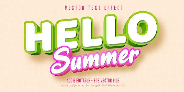 Привет лето текст, комический стиль редактируемый текстовый эффект