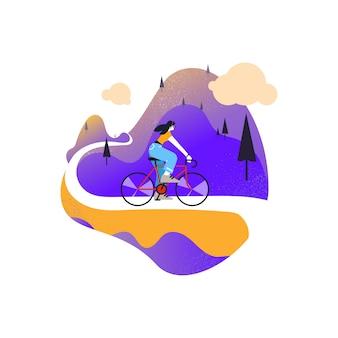 山で自転車に乗って幸せな女性