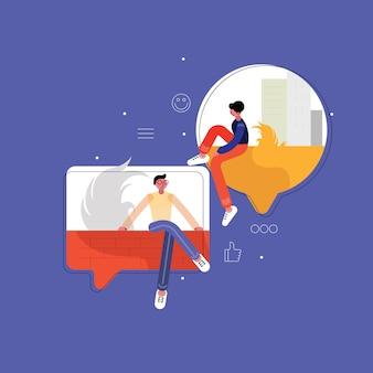 Мужчина и женщина в чате