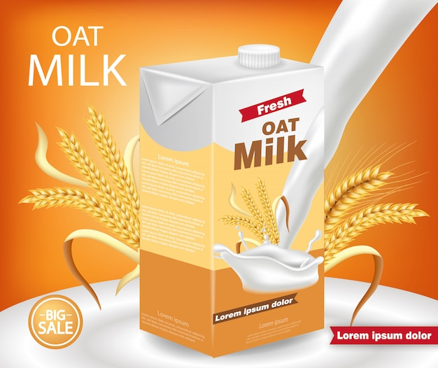 Макет пакета овсяного молока
