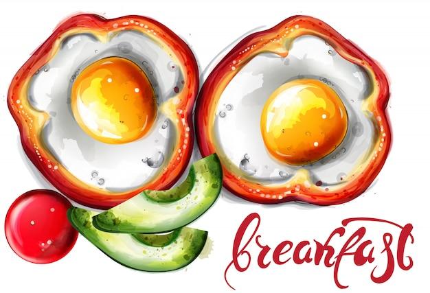 卵の朝食の水彩画