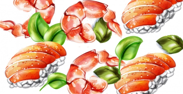 寿司ベクトル水彩画