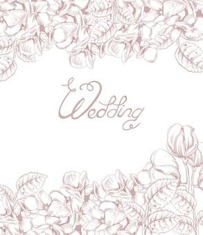 花のラインアートとビンテージのウェディングカード