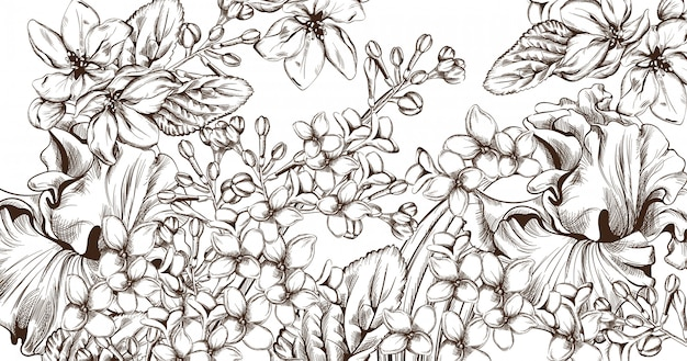 花の線画とビンテージのカード