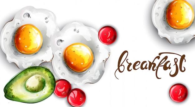 朝食の卵とアボカド