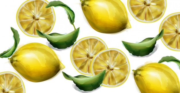レモンの水彩テクスチャ