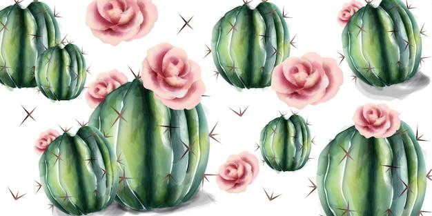 サボテンと花の水彩画