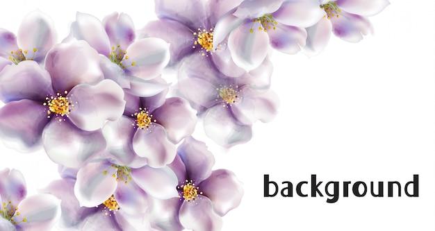 桜の花のウェディングカードの水彩画