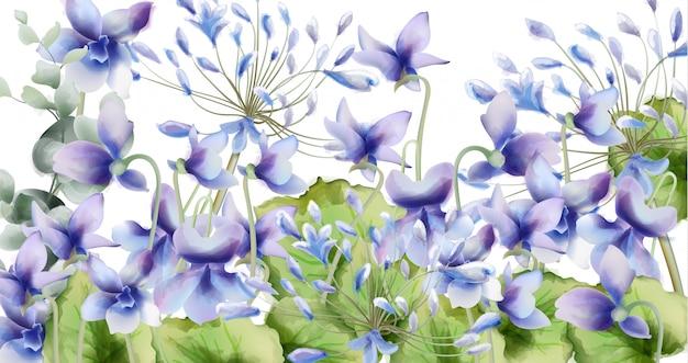 青い春花ブーケ水彩画