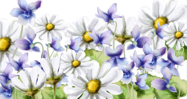 春の花のブーケ水彩画