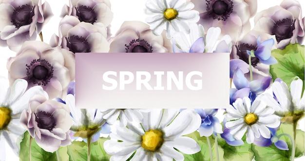 春の花ブーケカード水彩画