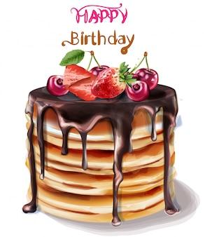 お誕生日おめでとうケーキ水彩画