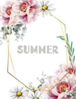 春の花のフレームカードの水彩画