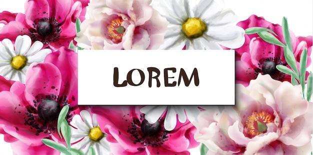 春の花のフレームの水彩画