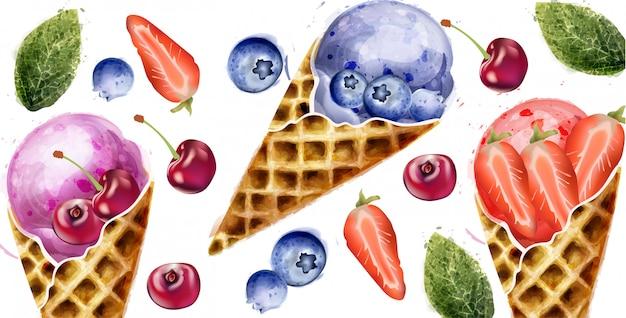 アイスクリームとフルーツの夏の水彩画