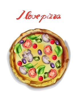 Я люблю пиццу акварелью